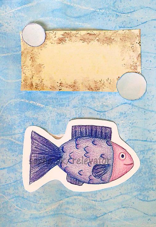 Rybka - maľovaná a kreslená pohľadnica