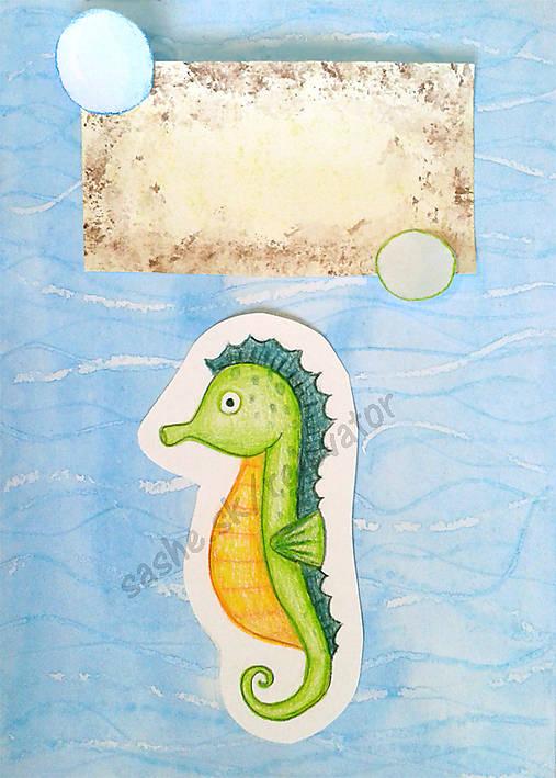 Morský koník- maľovaná a kreslená pohľadnica