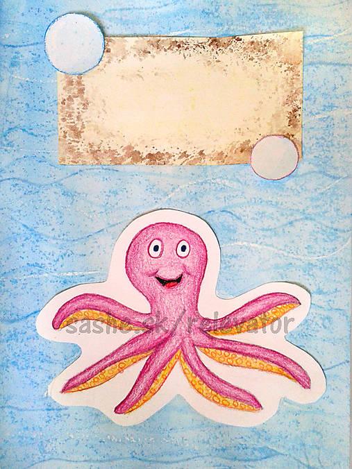 Chobotnica- maľovaná a kreslená pohľadnica
