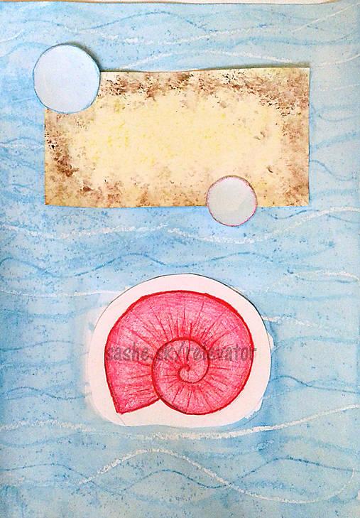 Mušlička - maľovaná a kreslená pohľadnica