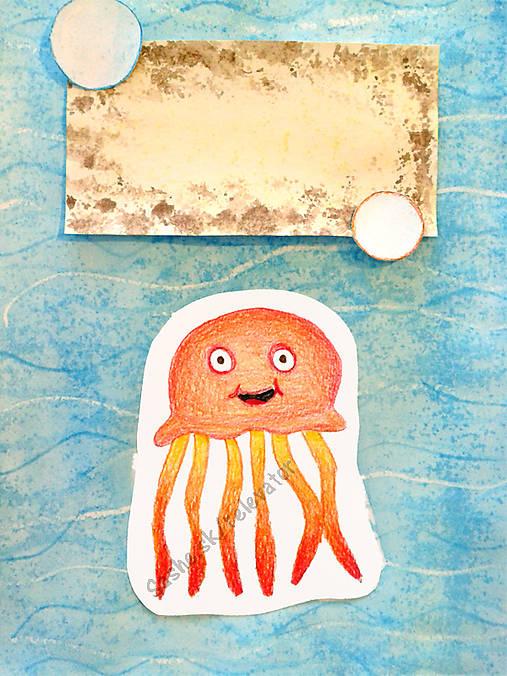 Medúza - maľovaná a kreslená pohľadnica