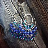 Náušnice - korálkovanie-tmavomodro,tyrkysovo,fialové kruhy - 6465036_