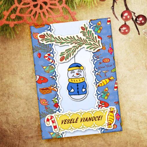 Vianočná pohľadnica Cartoon - snehuliačik