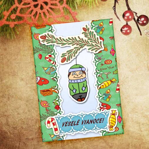 Vianočná pohľadnica Cartoon - chlapec