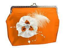 Taštičky - Saténová spoločenská kabelka oranžovo biela 1185 - 6473055_