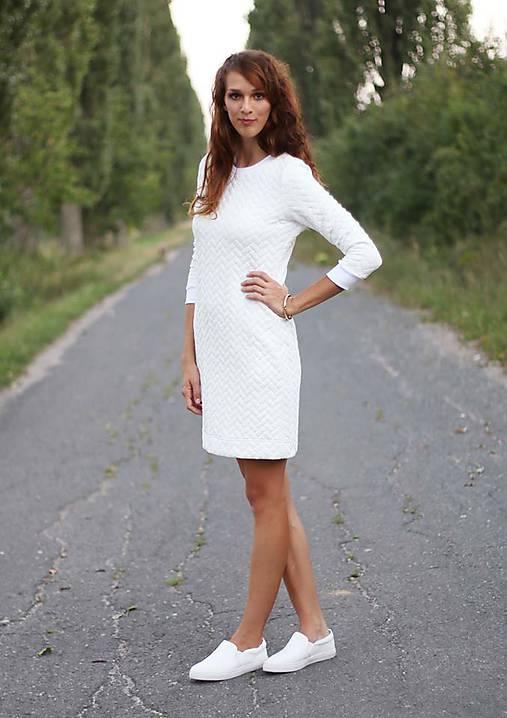 Šaty - Biele prešívané šaty - 6486873_