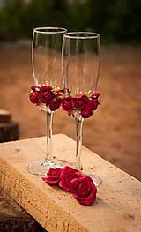 Darčeky pre svadobčanov - Svadobné poháre v červenom - 6490435_
