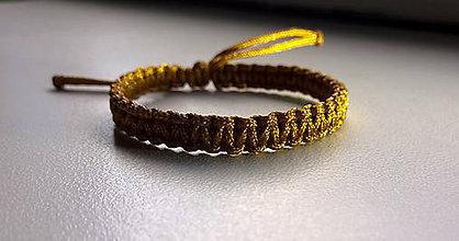 Náramky - Zlatý pletený náramok - 6505826_
