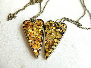 Náhrdelníky - Náhrdelníky srdce zlaté - 6509336_