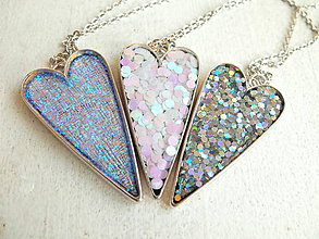 Náhrdelníky - Náhrdelníky srdce strieborné, perleťové, priehľadné - 6509338_