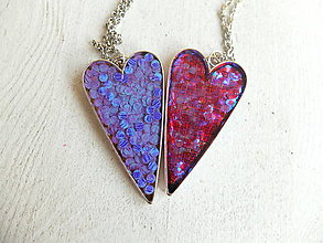 Náhrdelníky - Náhrdelníky srdce fialové a červené - 6509344_