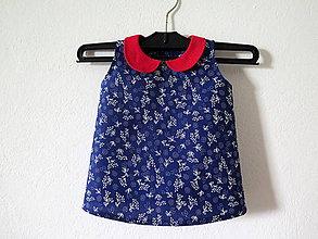 Detské oblečenie - modrotlačové šaty pre dievčatko - 6514075_