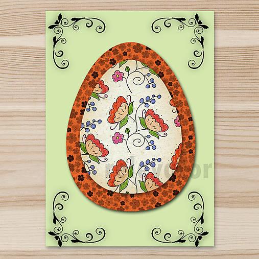 Veľkonočné vajce - pohľadnica simple (kvietky) 6