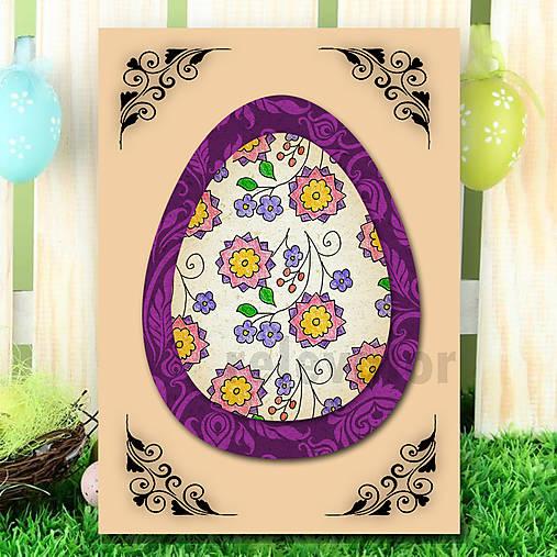 Veľkonočné vajce - pohľadnica simple (ornamenty) 7