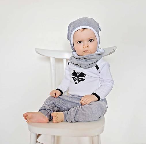 Detské oblečenie - Body s mývalom (čierno-biele) - 6530940_