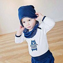 Detské čiapky - Obojstranná čiapka s nákrčníkom (modro-bodkované) - 6531735_