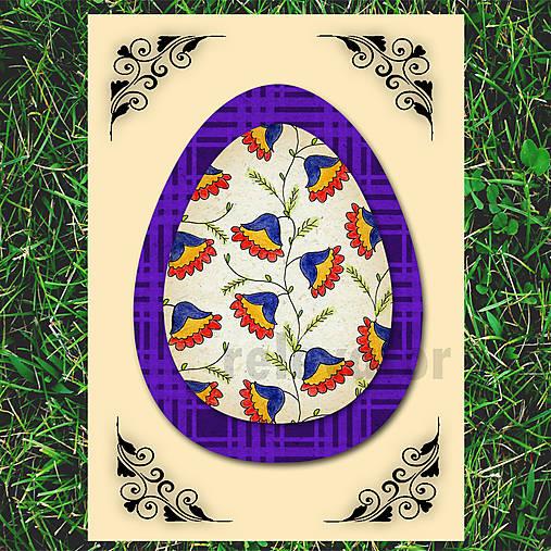 Veľkonočné vajce - pohľadnica simple (káro) 6