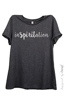 Tričká - Dámske tričko voľný strih krátky rukáv melír INSPIRITATION - 6532581_
