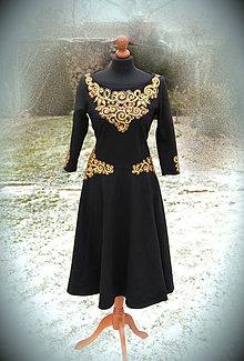Šaty - Čierne šaty so zlatou maľbou... - 6534439_