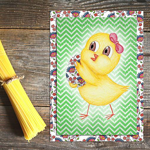 Veľkonočné pohľadnice Malé kuriatko (cik-cak) 7
