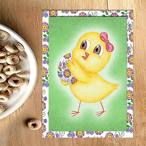 Veľkonočné pohľadnice Malé kuriatko (jemná textúra) 5