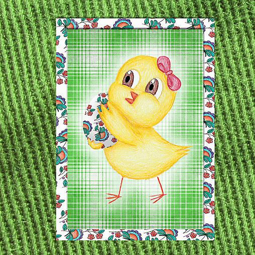 Veľkonočné pohľadnice Malé kuriatko (káro) 2