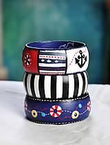 Náramky - Drevený maľovaný náramok - Námorník - 6561717_