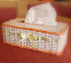 Košíky - košík - krabička na vreckovky oranž - 6559397_