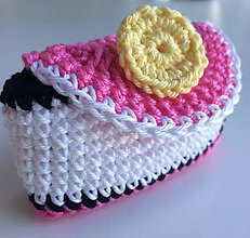 Peňaženky - mini peňaženka 12 čierno-bielo ružová - 6562445_