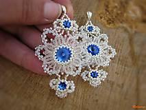 Náušnice - Swarovski v čipke ukrytý...do modra - 6617463_