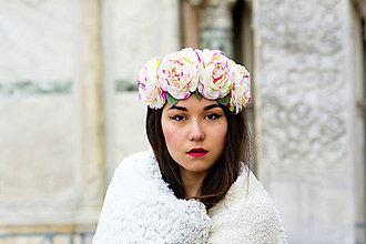 Ozdoby do vlasov - Romantická čelenka z veľkých kvetov. - 6620490_