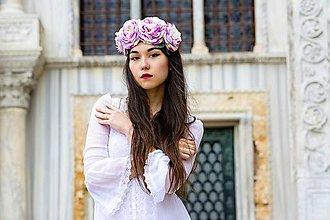 Ozdoby do vlasov - Romantická čelenka rúžová. - 6620729_