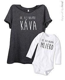 Tričká - Súprava dámske tričko a detské body/tričko DR/KR KÁVA vs. MLIEKO - 6623780_
