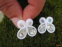 Náušnice - white butterfly...soutache - 6626824_