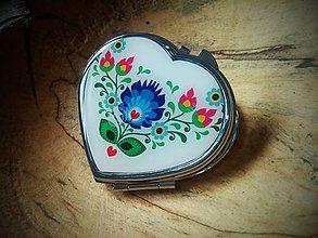 Zrkadielka - Folklórne zrkadielko v srdiečkovom tvare - 6627647_