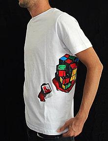 Tričká - Maľované tričko Rubikova kocka - 6649204_
