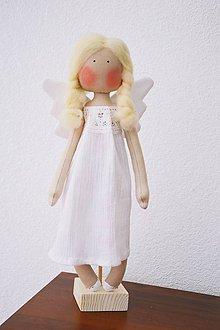 Bábiky - Biely anjelik na stojane - 6663858_