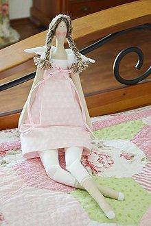 Bábiky - Ružový Tilda anjel - 6663876_