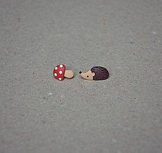 Náušnice - Centrum Slniečko: Náušničky ježko a muchotrávka - 6675094_