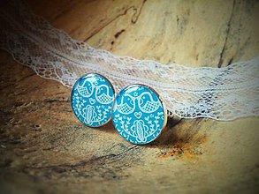 Šperky - Manžetky bledo-modré vtáčiky - 6680442_