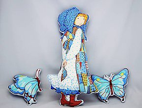 Bábiky - Blue country bábika s motýlikmi - 6688091_