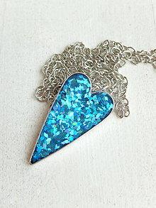 Náhrdelníky - Srdce modré - 6703114_