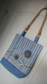 Veľké tašky - Taška originálna modrá-s koženými rúčkami - 6702399_