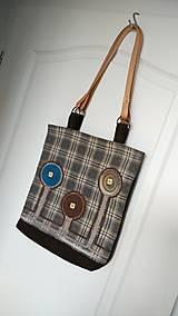 Veľké tašky - Taška originálna hnedá s koženými rúčkami - 6702409_