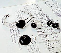 Sady šperkov - Elegant Black Agate Set / Set s čiernym achátom v striebornom prevedení - 6709588_
