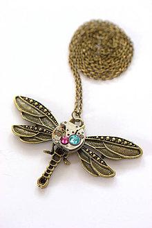 Náhrdelníky - Steampunkový náhrdelník Vážka - 6718653_
