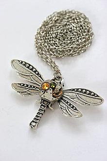 Náhrdelníky - Steampunkový náhrdelník Vážka - 6718738_
