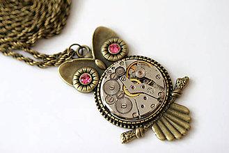 Náhrdelníky - Steampunkový náhrdelník Sovička - 6718787_