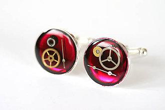 Šperky - Steampunkové manžetové gombíky, magentové, kolieskové - 6721358_