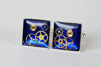 Šperky - Steampunkové manžetové gombíky, modré, kolieskové - 6721363_